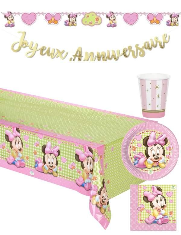 Pack décoration d'anniversaire 1 an fille bébé Minnie Disney