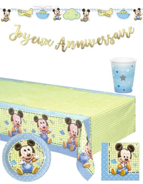 Pack décoration d'anniversaire 1 an garçon bébé Mickey Disney