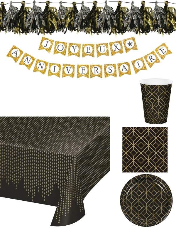 Pack décoration d'anniversaire adulte noir et doré