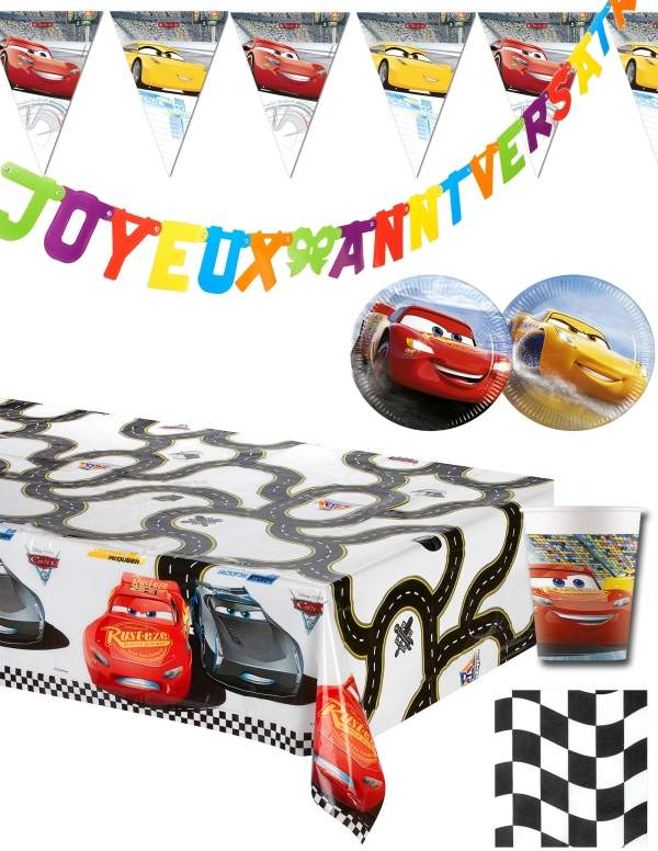 Pack décoration d'anniversaire Cars Disney Flash Mcqueen