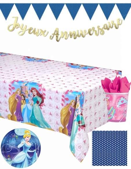 Pack décoration d'anniversaire Cendrillon princesses Disney Biogato - 1