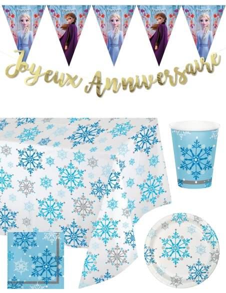 Pack décoration d'anniversaire Reine des neiges princesses Disney Biogato - 1