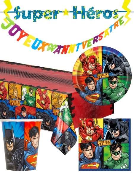 Pack décoration d'anniversaire Justice league superman, batman Biogato - 1