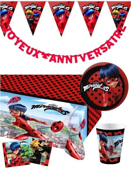 Pack décoration d'anniversaire Ladybug Miraculous Biogato - 1