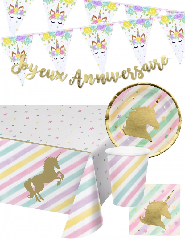 Pack décoration d'anniversaire licorne unicorn