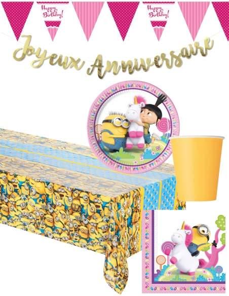 Pack décoration d'anniversaire Minions pour fille Moi, moche et méchant Biogato - 1
