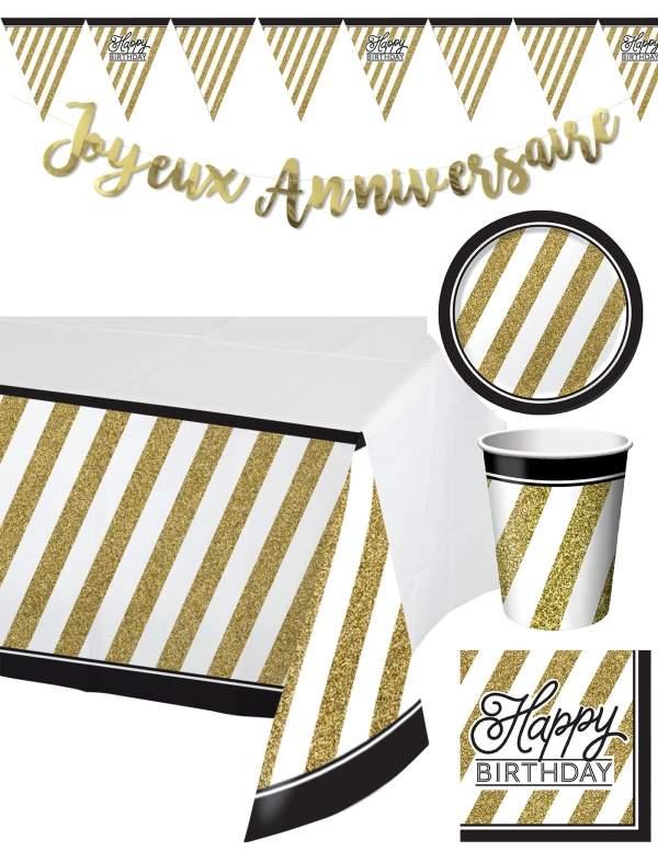 Pack décoration d'anniversaire adulte Noir et Or