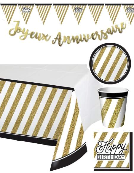 Pack décoration d'anniversaire adulte Noir et Or Biogato - 1