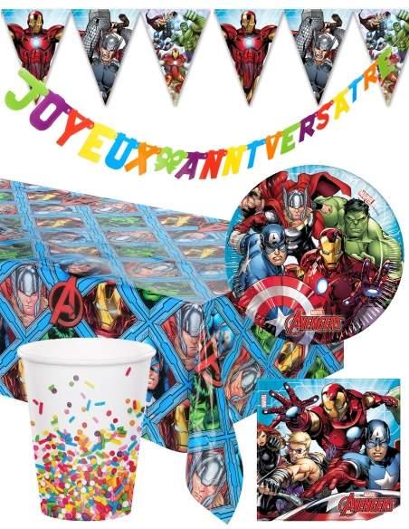 Pack décoration d'anniversaire Avengers Marvel super-héros Biogato - 1