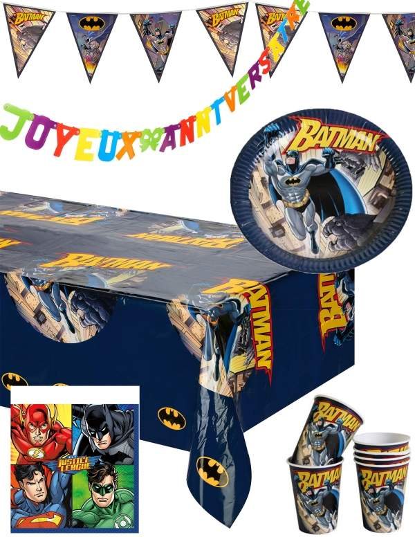 Pack décoration d'anniversaire Batman super-héros Biogato - 1