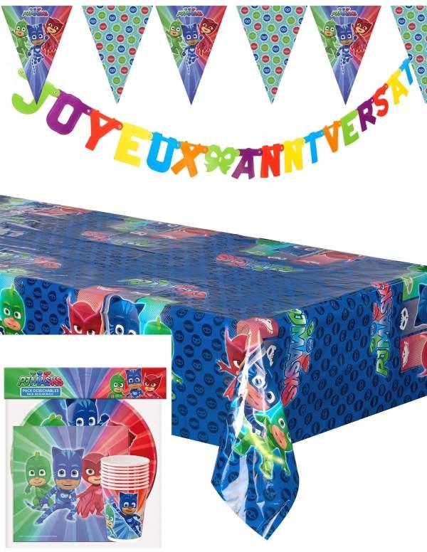 Pack décoration d'anniversaire Pyjamasque PJ Masks Biogato - 1