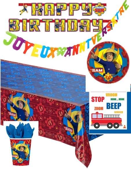 Pack décoration d'anniversaire pompier Biogato - 1