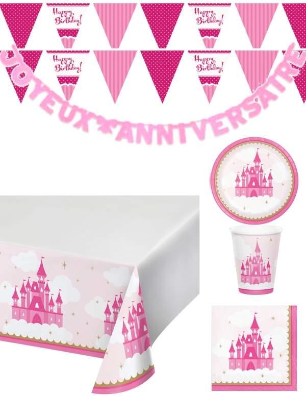 Pack décoration d'anniversaire princesse rose fille Biogato - 1