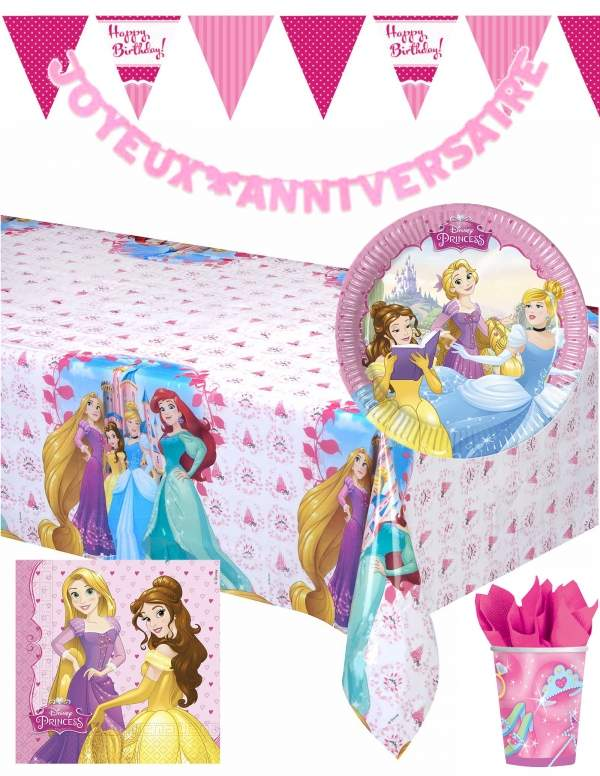 Pack décoration d'anniversaire princesse Raiponce princesse Disney Biogato - 1