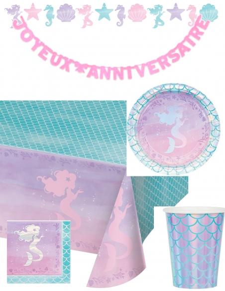Pack décoration d'anniversaire sirène Ariel la petite sirène princesse Disney Biogato - 1