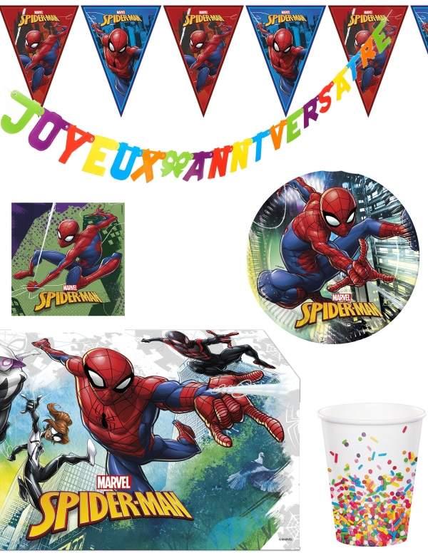 Pack décoration d'anniversaire Spiderman Marvel super-héros