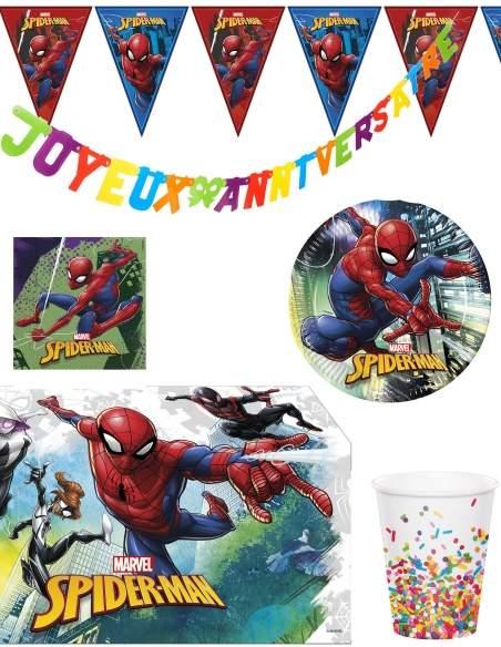 Pack décoration d'anniversaire Spiderman Marvel super-héros Biogato - 1