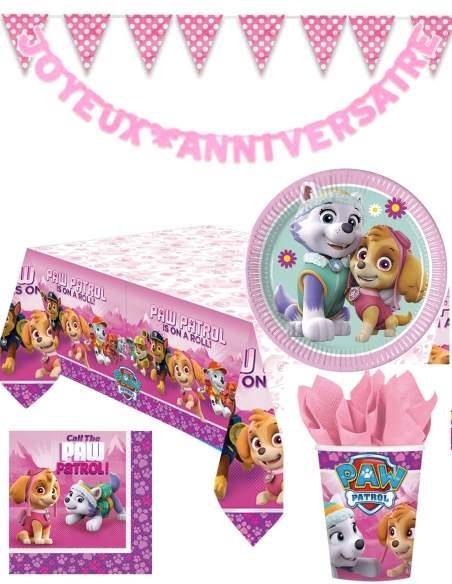 Pack décoration d'anniversaire Pat patrouille fille Stella et Everest Biogato - 1