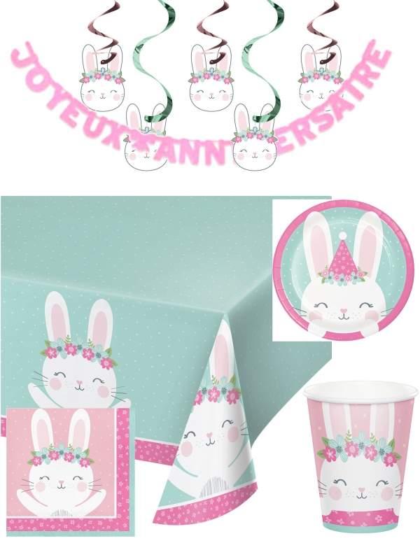 Pack décoration d'anniversaire Lapinou fille
