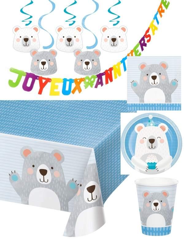 Pack décoration d'anniversaire Ourson garçon Biogato - 1