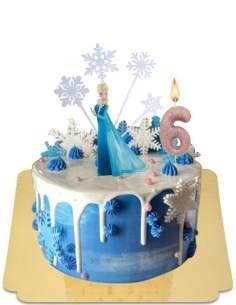 Drip cake reine des neiges blanc à mini macarons bleu et figurine Elsa vegan, sans gluten - 185