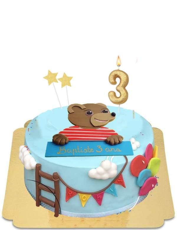 Gâteau Petit ours brun décoration festive vegan, sans gluten