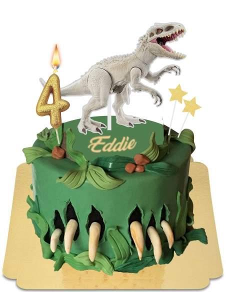Gâteau Indominus Rex avec griffes déchirant le gâteau vegan, sans gluten