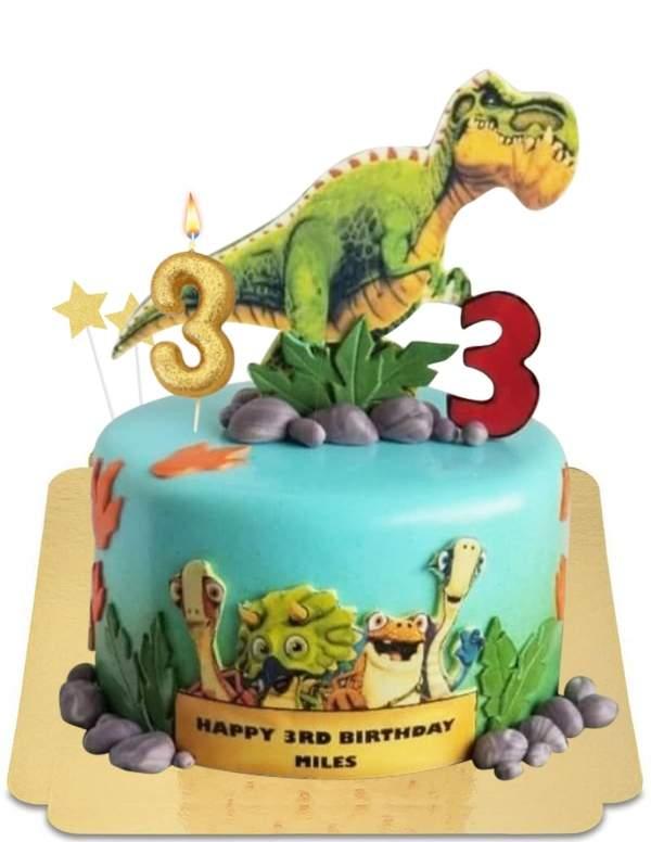 Gâteau Gigantosaurus et les bébés dinosaures vegan, sans gluten